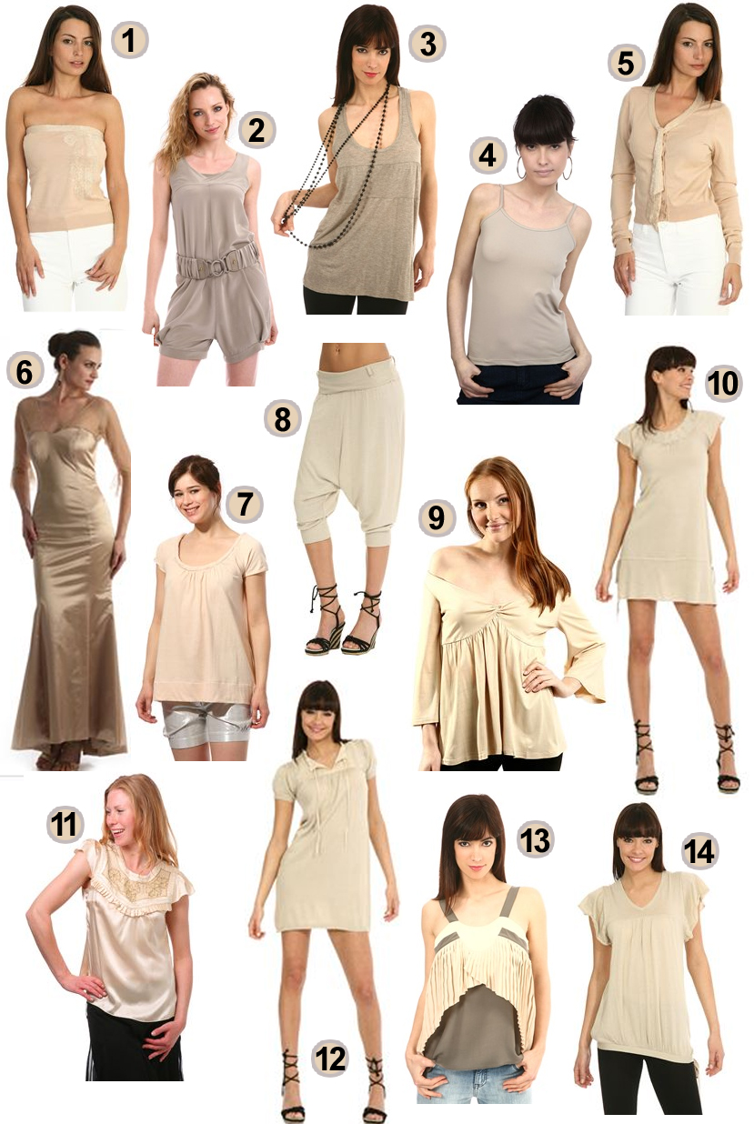Robes et tops nude